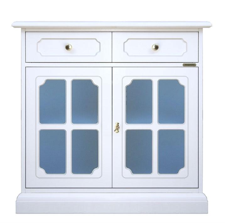 Aparador blanco 2 puertas y vidrios esmerilados azules