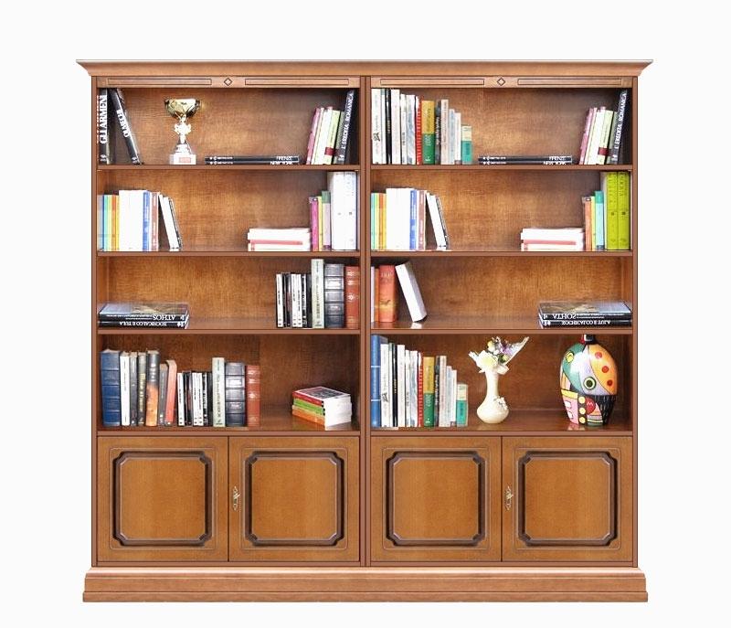 Librería para salón en madera con vanos y 4 puertas Liber 202