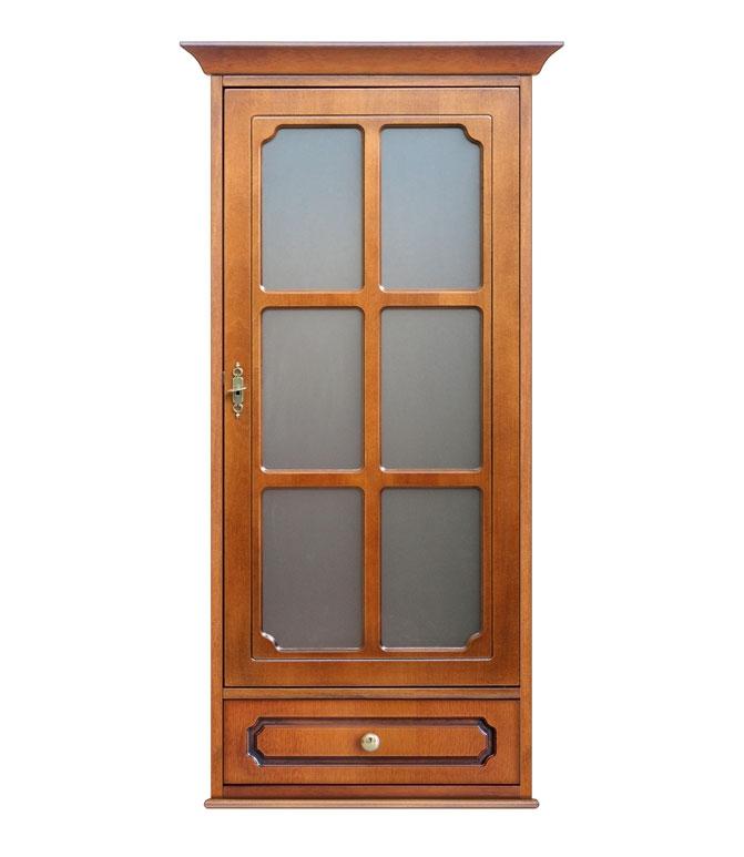 Vitrina de pared 1 puerta 1 cajón estilo clásico