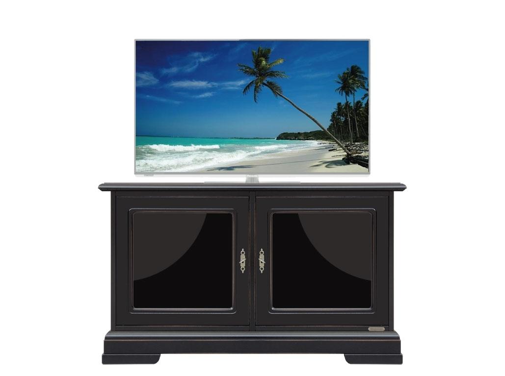 Mueble tv bajo negro con puertas laqueados negros