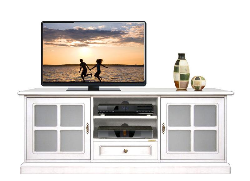 Mueble tv bajo laqueado 2 puertas vitrinas