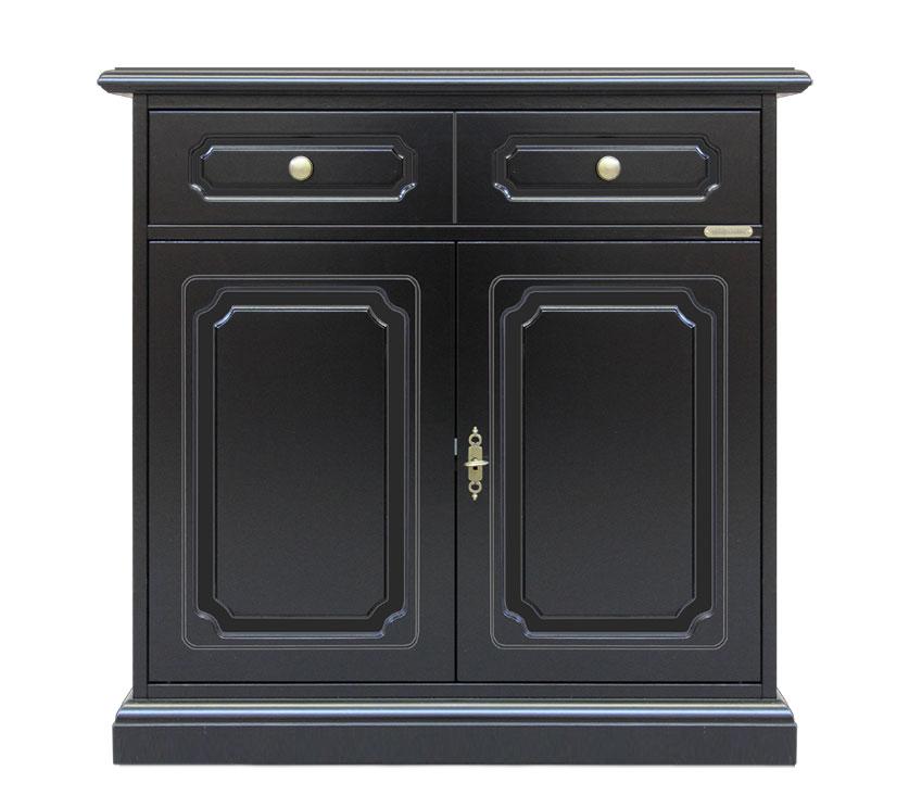 Aparador barnizado negro estilo clásico con 1 cajón y dos puertas
