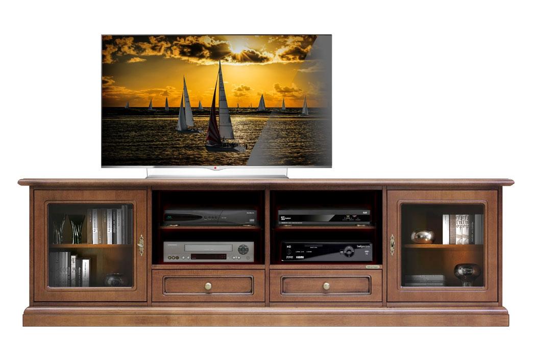 Mueble tv 2m puertas vitrinas
