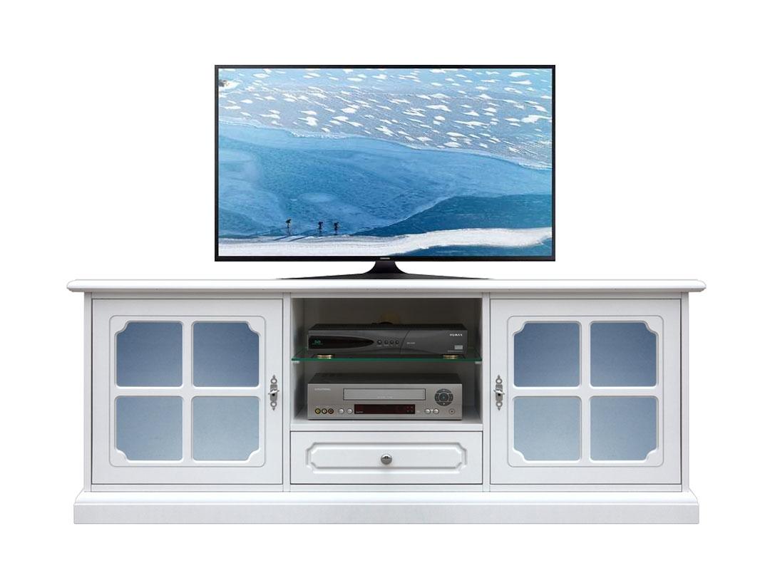 Mueble tv blanco puertas vitrinas azules