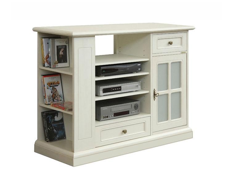 Mueble tv largo laqueado puerta vaso y cajón