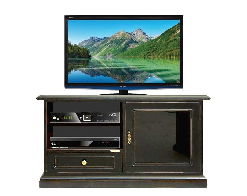 Mueble de tv negro envejecido con puerta vitrina negra diseño italiano