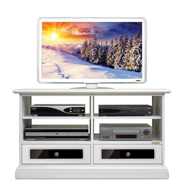 Mueble tv blanco y negro reflex en cajones
