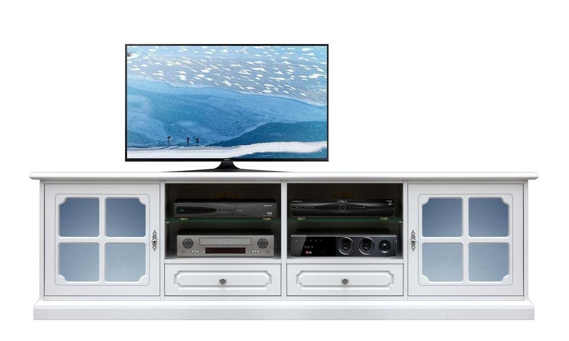 Mueble tv laqueado blanco y vidrios esmerilados azules