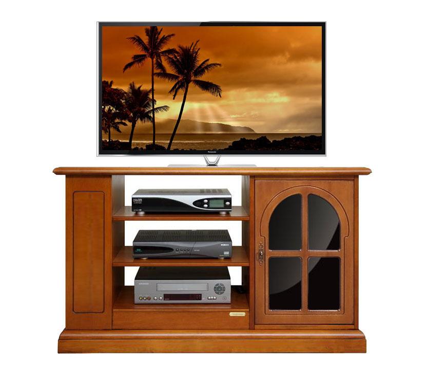 Mueble tv en madera y reflex negro en la puerta