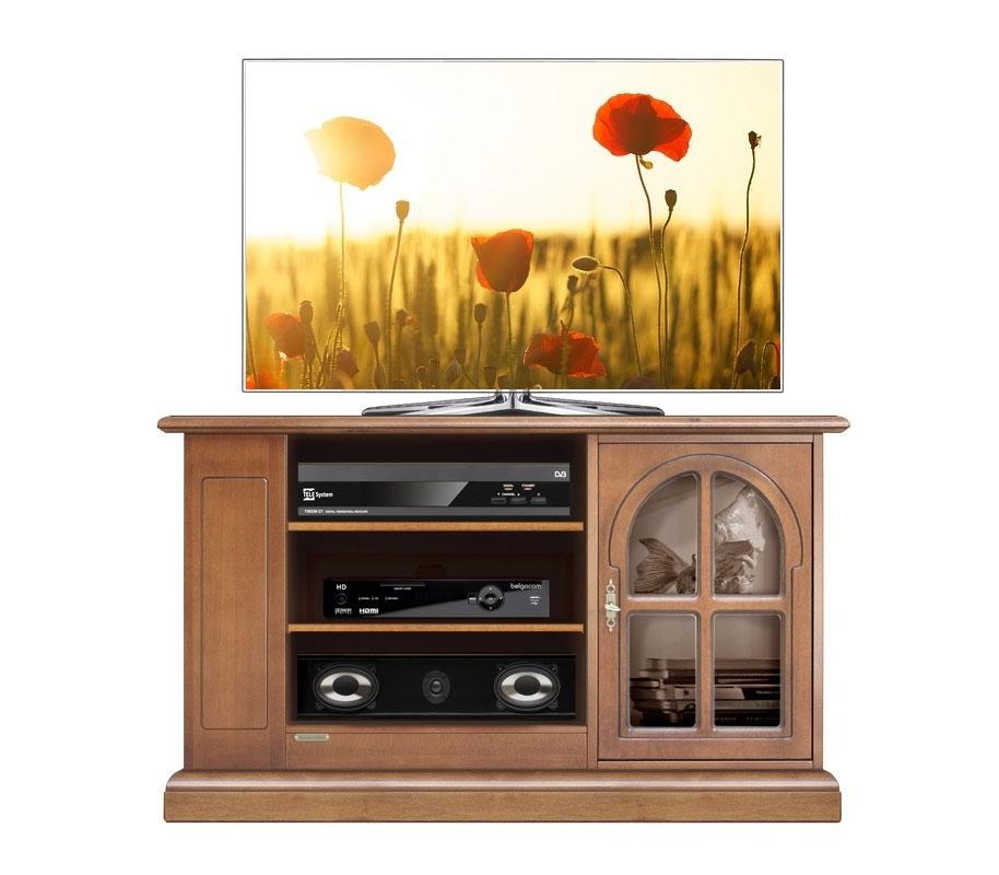Mueble de tv en madera vanos centrales y puerta vitrina
