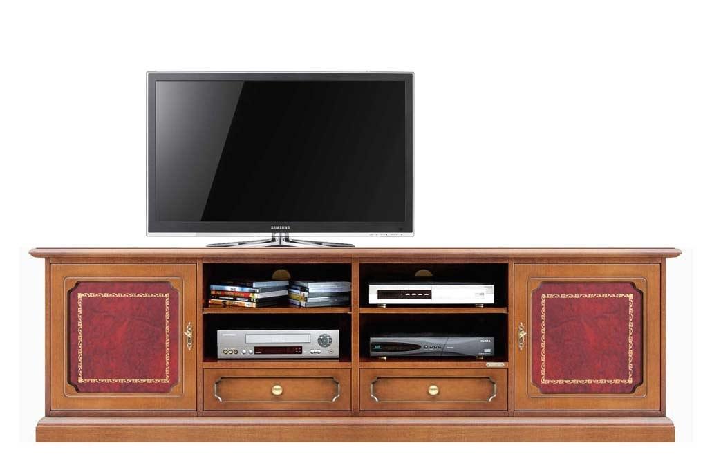 Mueble tv madera y cuero de artesanado