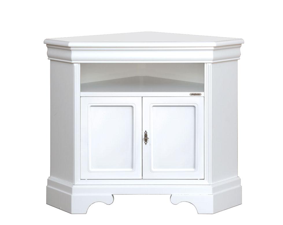 Mueble tv esquina laqueado blanco