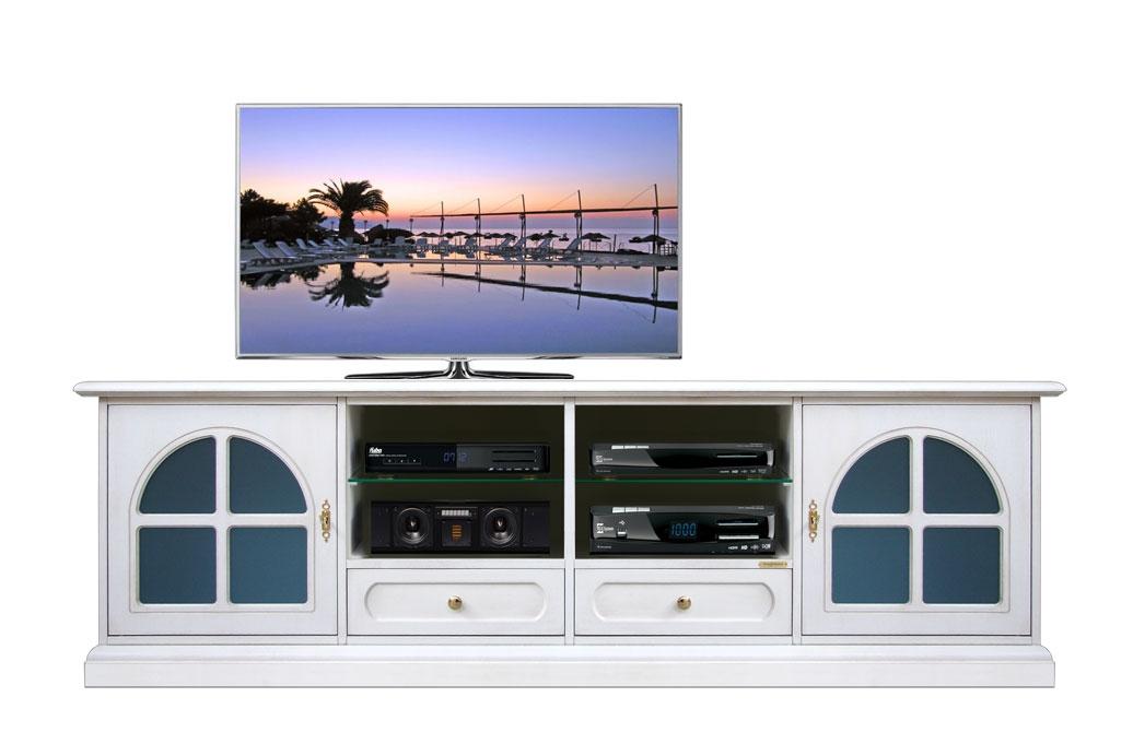 Mueble tv de pared salón en madera laqueada