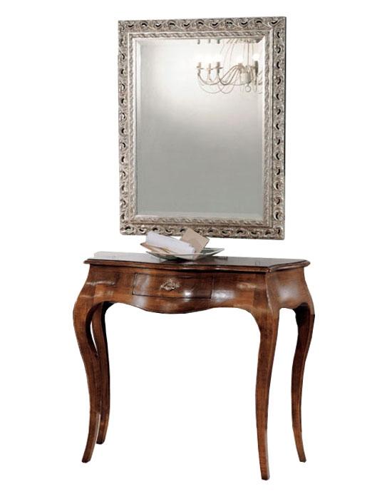 Composición de entrada consola y espejo de madera