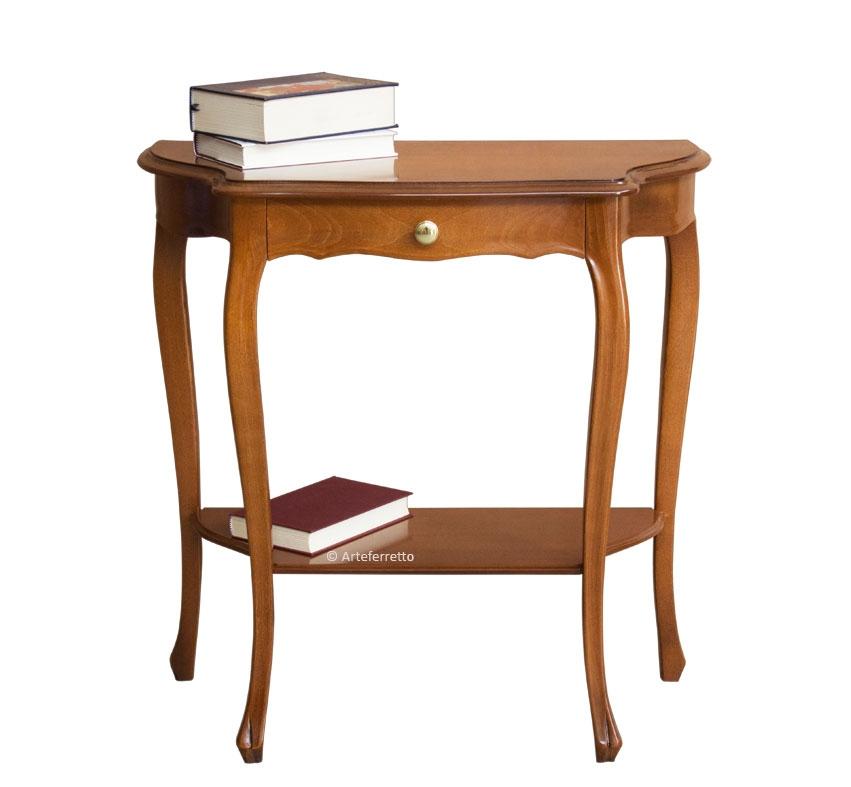 Consola de madera con cajón y estante inferior