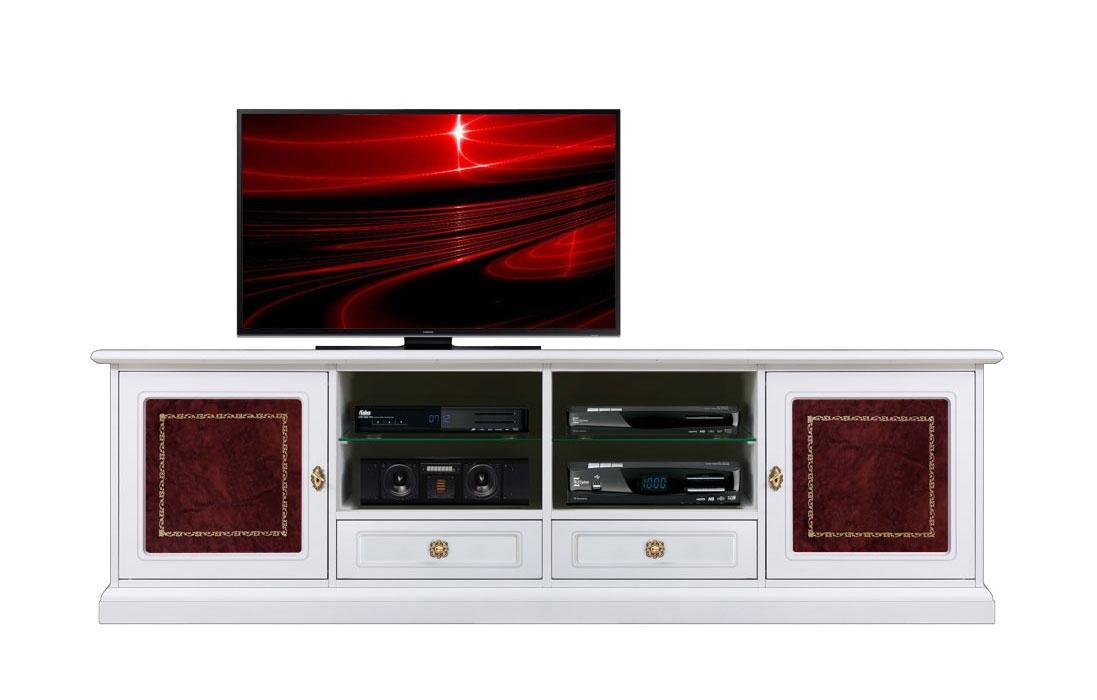 Mueble tv blanco y cuero rojo anchura 2m