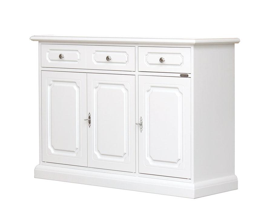 Aparador en madera blanco 3 puertas 2 cajones estilo clásico