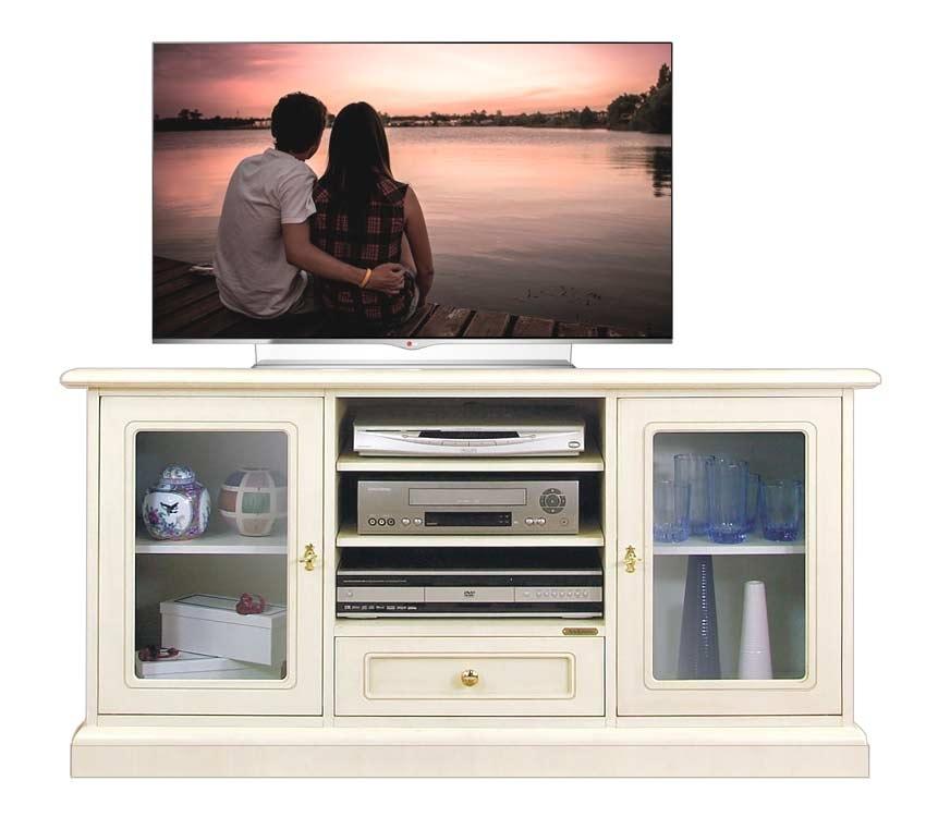 Mueble tv puertas con vidrios estilo clásico