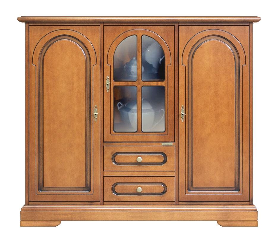 Aparador grande en madera para salón vitrina central