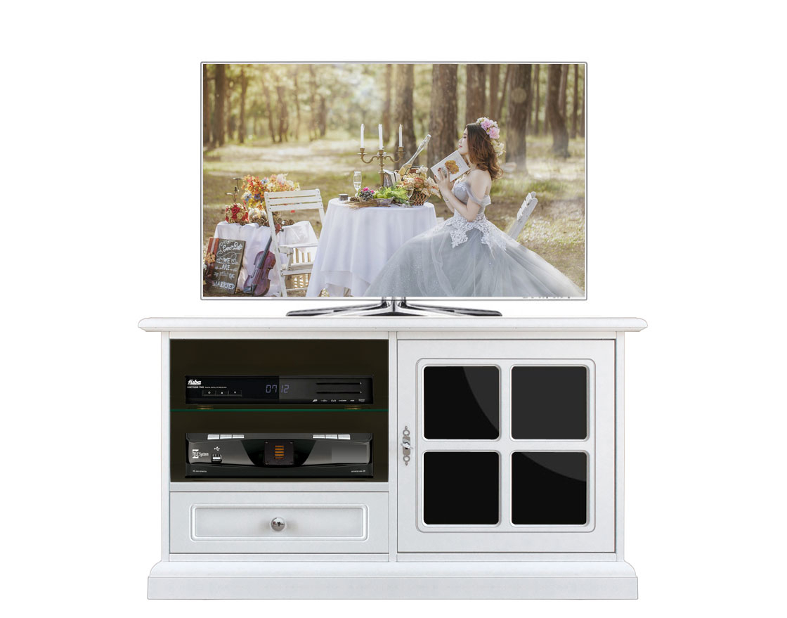 Mueble tv vitrina negra Reflex estructura en madera blanca