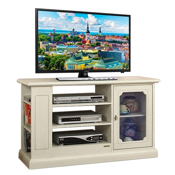 Mueble de tv puerta vitrina y vanos centrales