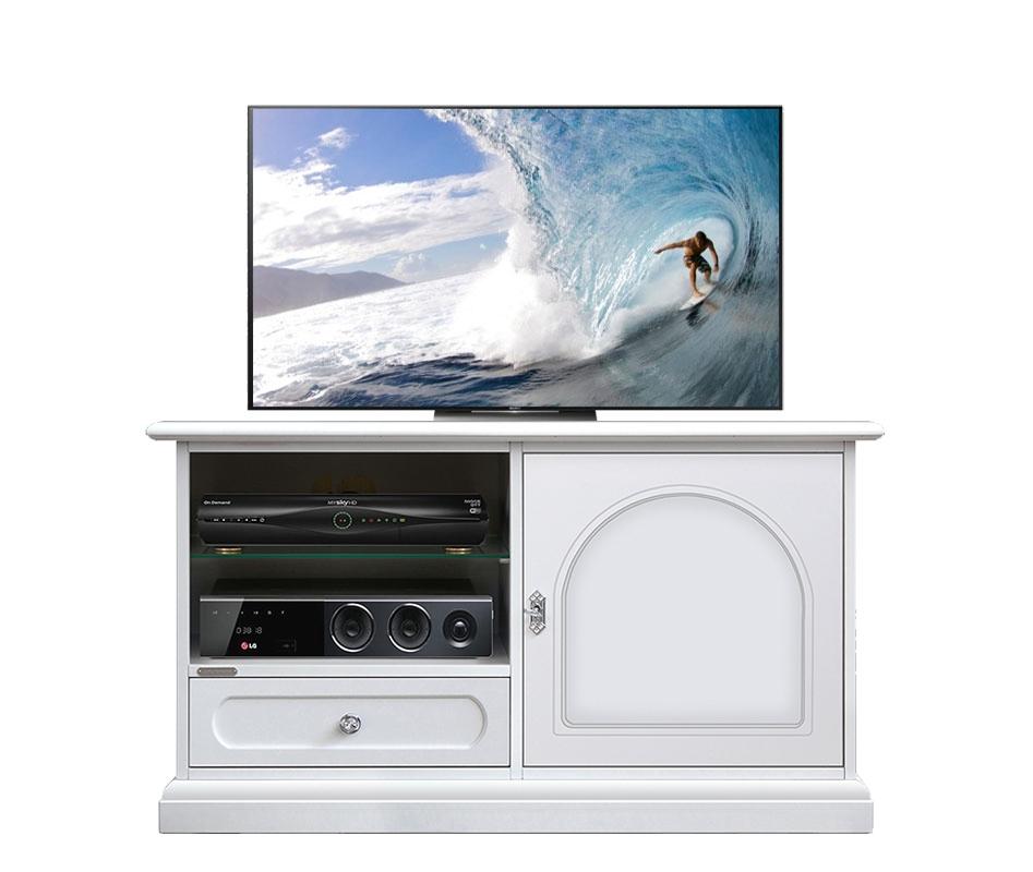 Aparador blanco para tv puerta, cajón y vanos en madera