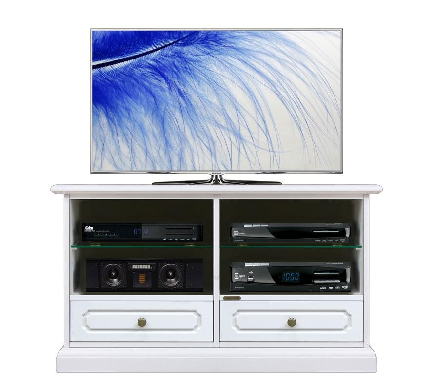 Mueble tv barnizado blanco vanos centrales y cajones bajos