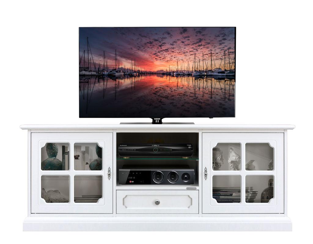 Mueble tv laqueado largo, 2 puertas laterales