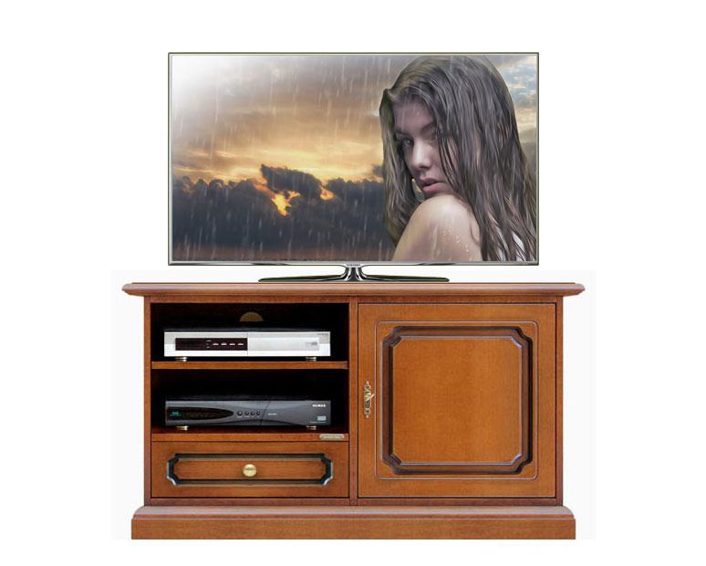Mueble tv aparador 1 puerta 1 cajón vano con estantes