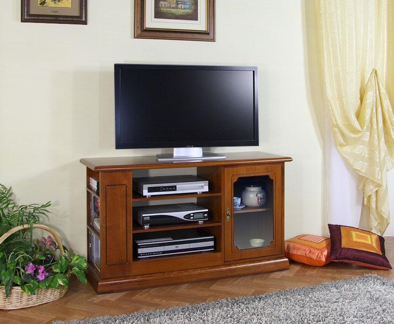Mueble tv puerta vitrina estantes en madera