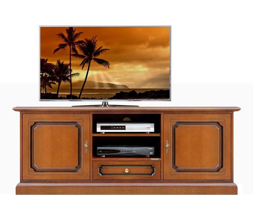 Mueble tv estilo clásico dos puertas, vano y cajon central