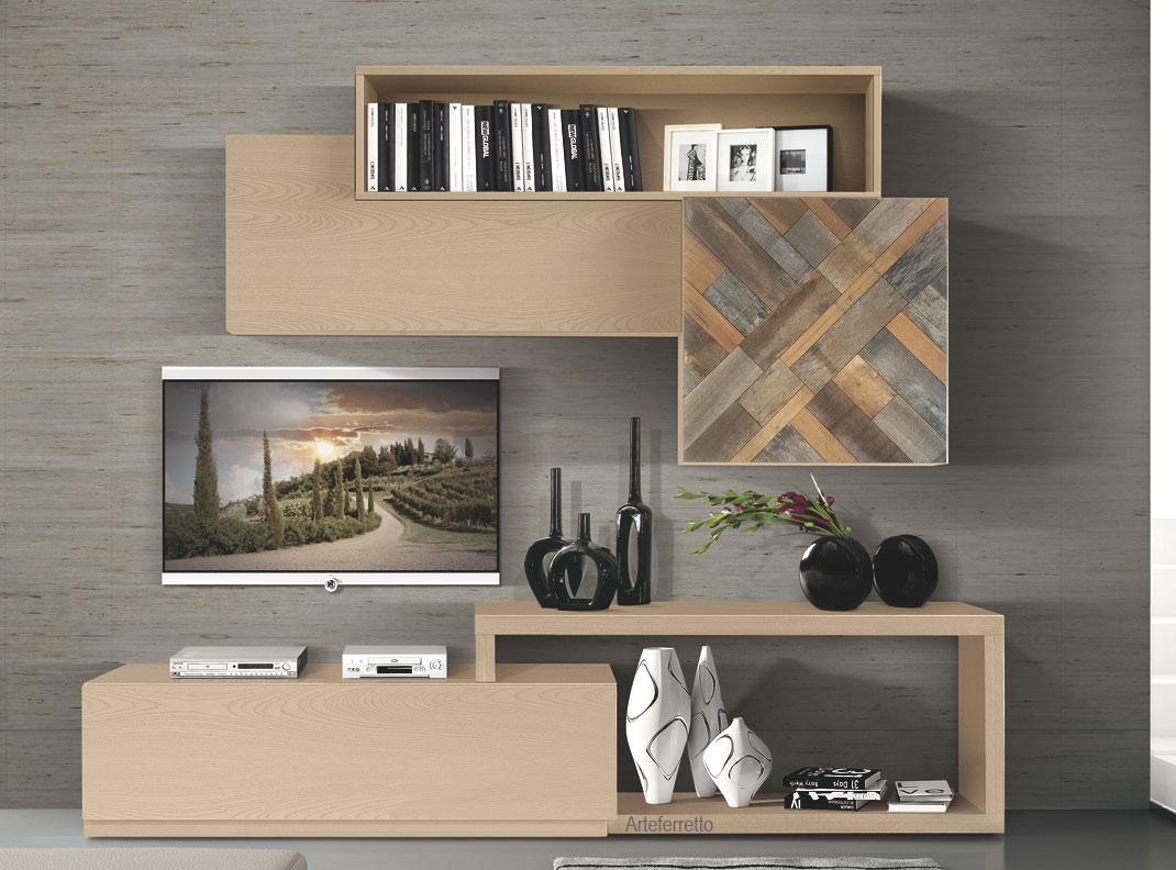 Mueble modular de salón en madera, colección MixIT - opción 7