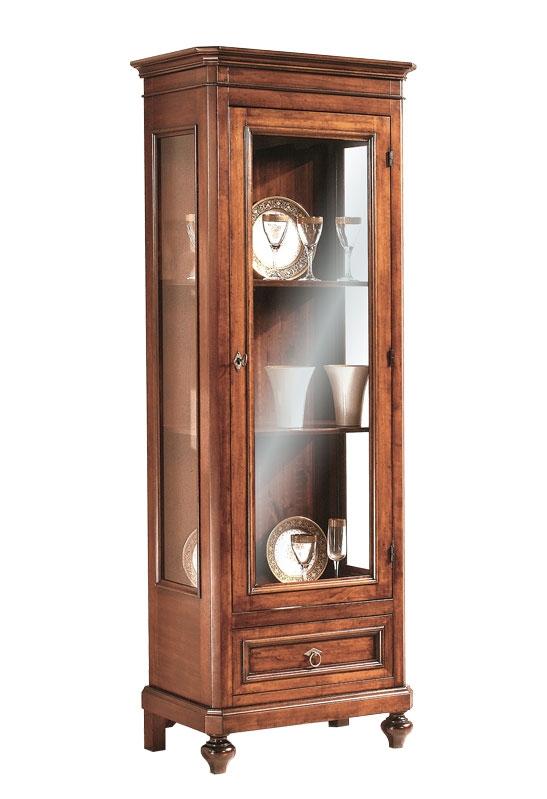 Vitrina de salón estilo clásico, madera maciza