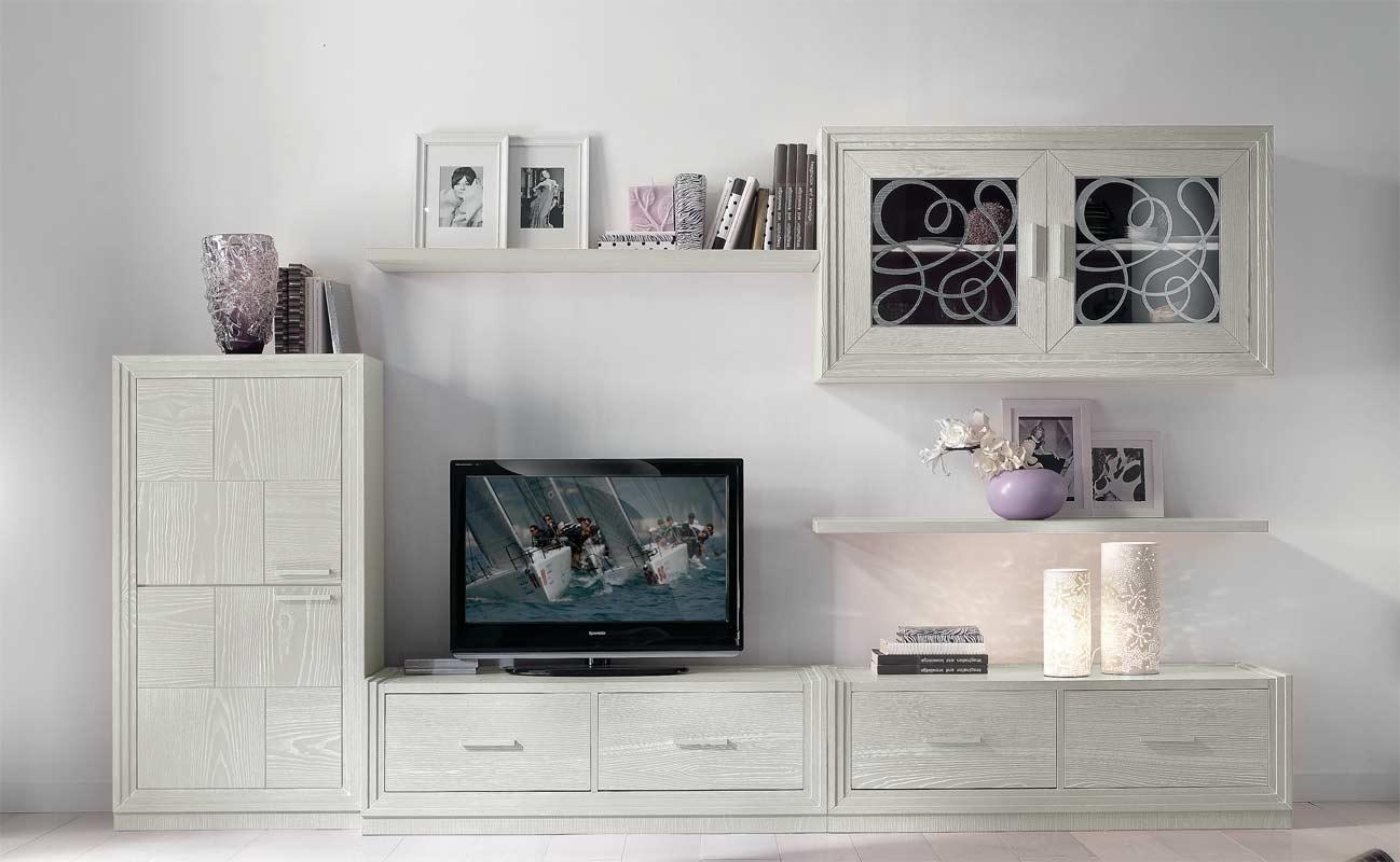Mueble de tv con vitrina y estante Dublino