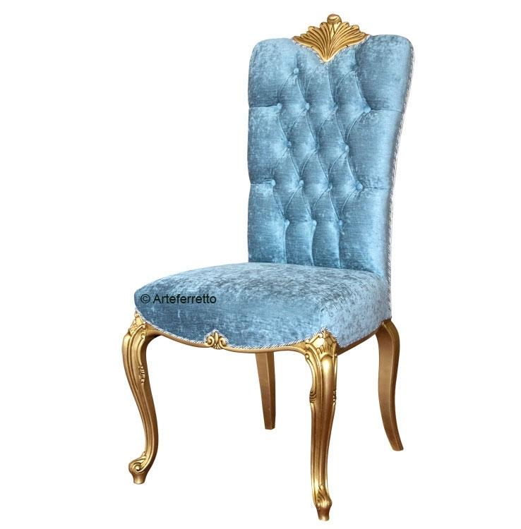 Silla lujo hoja de oro respaldo capitoné y trasera tapizada
