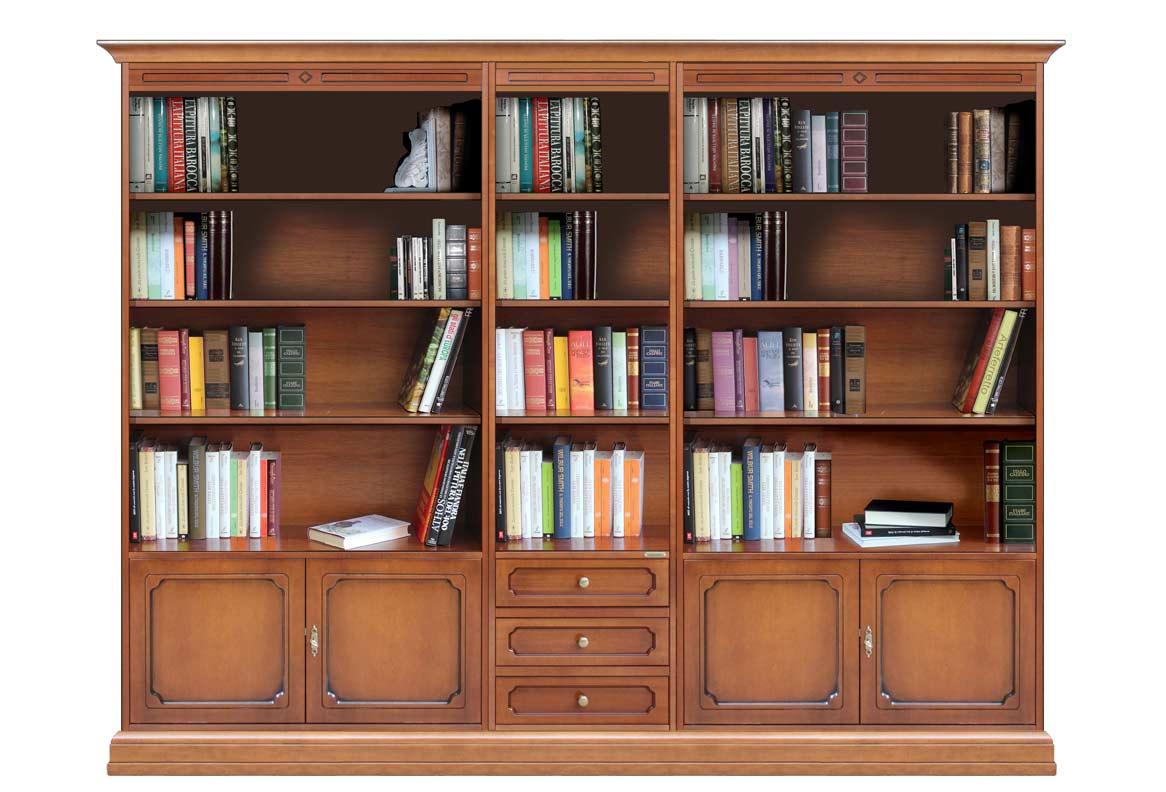 Librería de pared en madera para salón o despacho