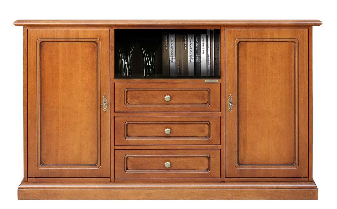 Mueble aparador de tv alto en madera 3 cajones