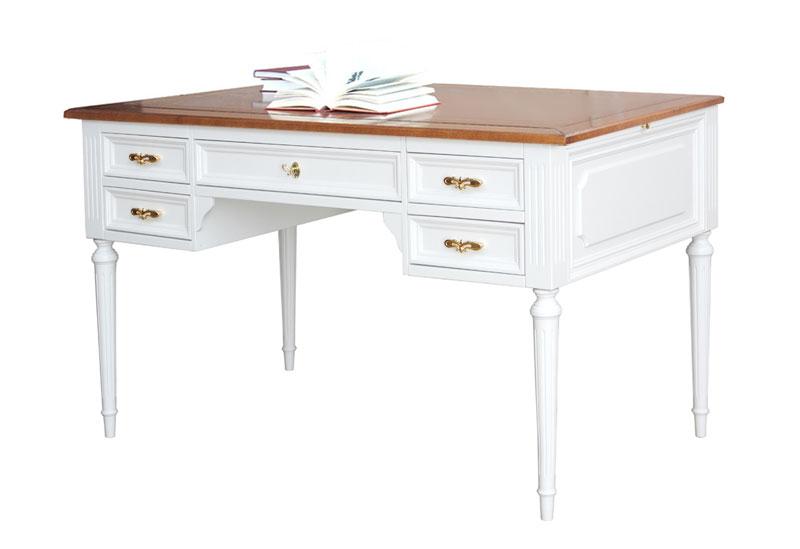 Escritorio bicolor blanco y cerezo en madera
