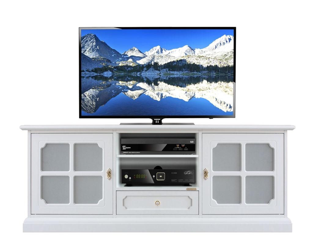 """Mueble tv 150 cm blanco puertas con vidrios """"Luxe"""""""