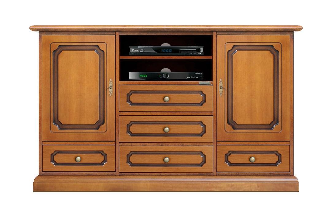 Mueble tv aparador largo en madera estilo clásico artesanado italiano