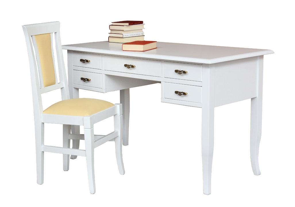 Escritorio laqueado con cajones y silla blanca Claire