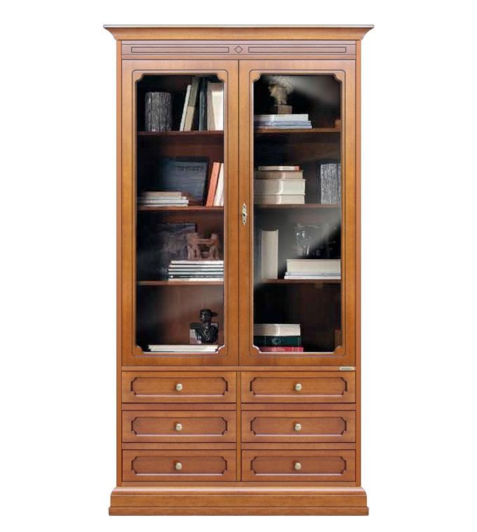 Mueble vitrina con puertas de vidrio y 6 cajones