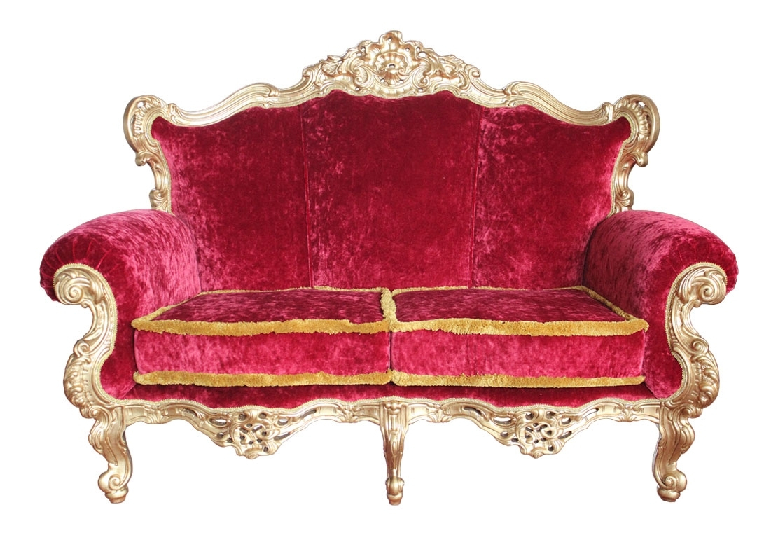 Sofa lujo madera dorado