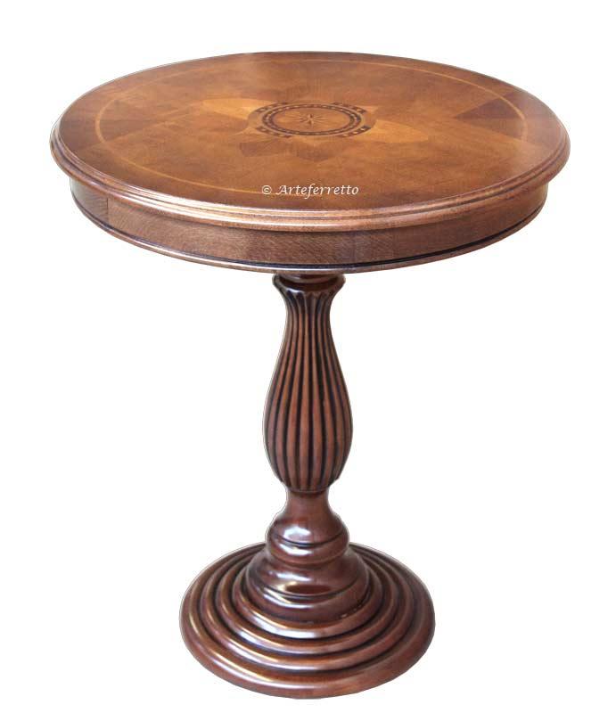 Mesa de centro redonda con marqueterías margarita