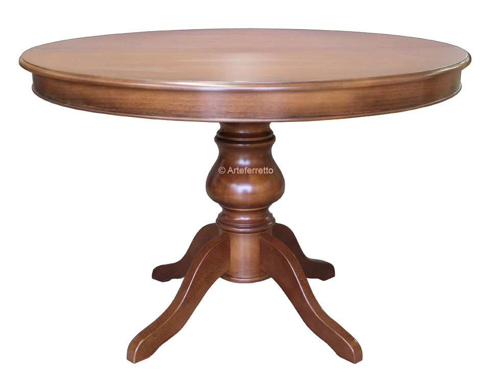 Mesa redonda en madera estilo clásico diámetro 120 cm