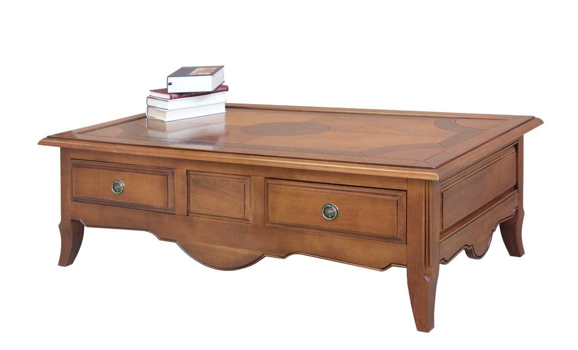 Mesa de centro robusta en madera maciza