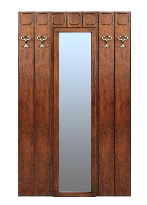 Perchero de pared espejo central de madera
