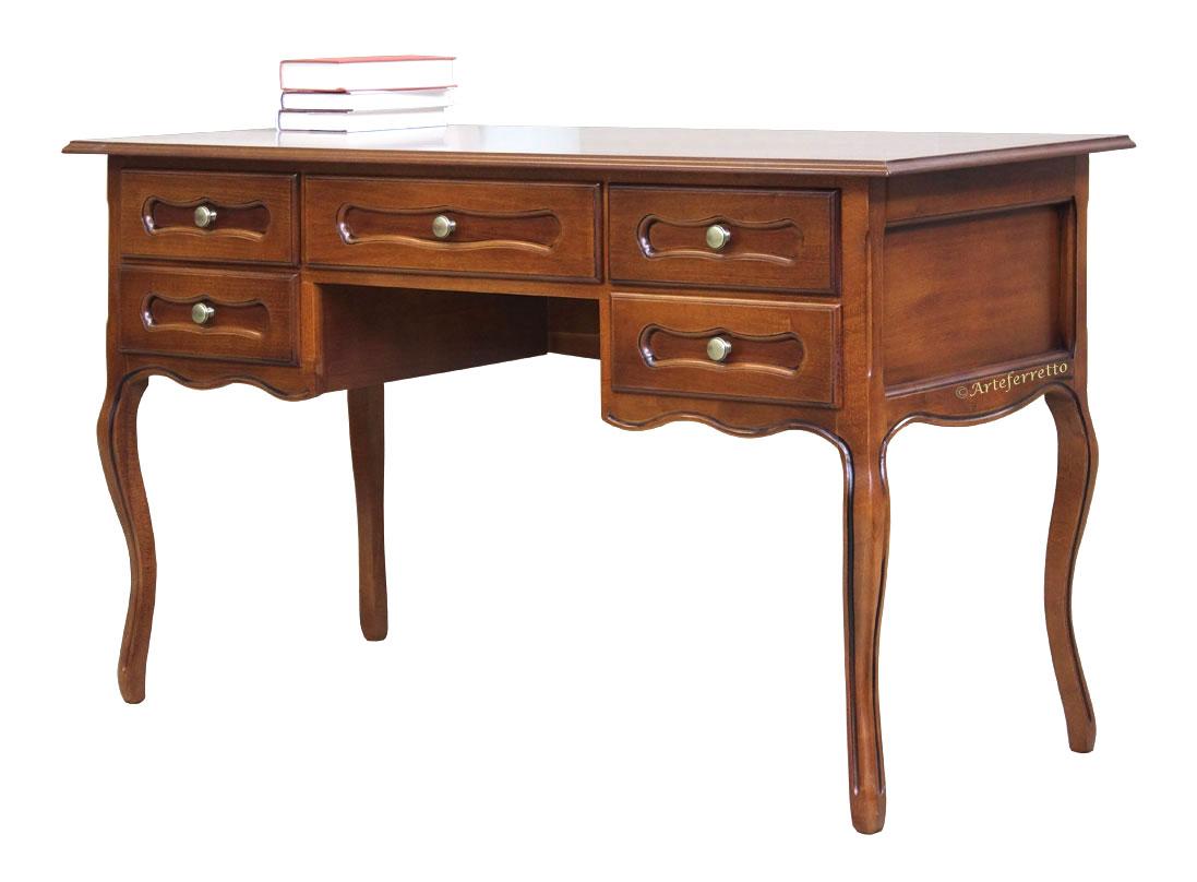 Mesa de despacho estilo provenzal cinco cajones