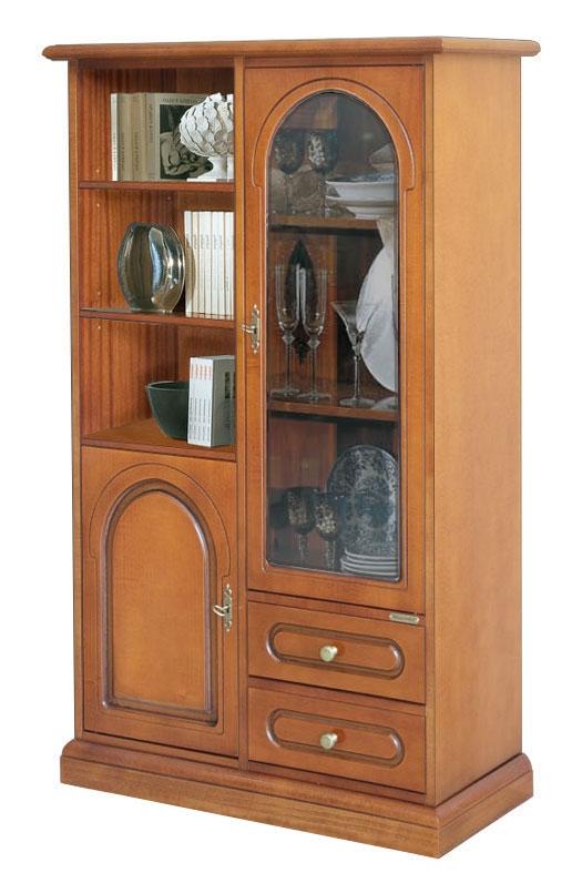 Mueble vitrina de madera con cajones