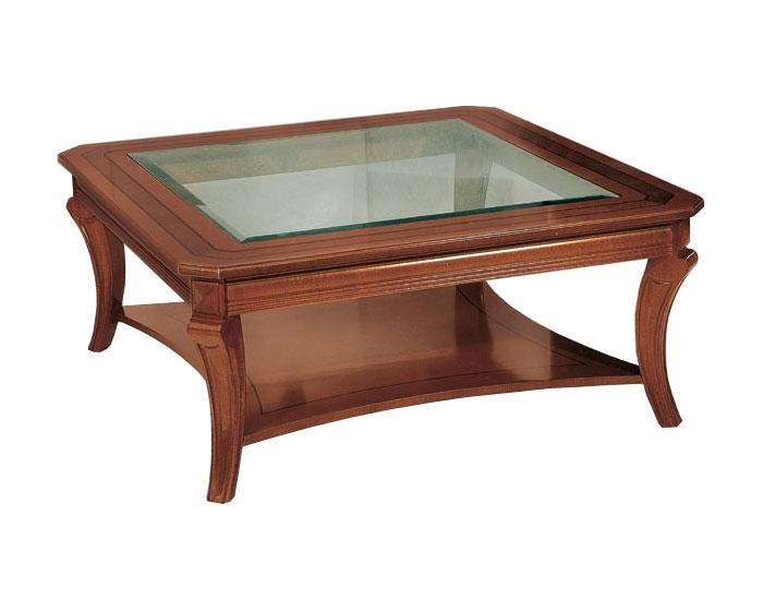 Mesa de centro cuadrada de madera y vidrio